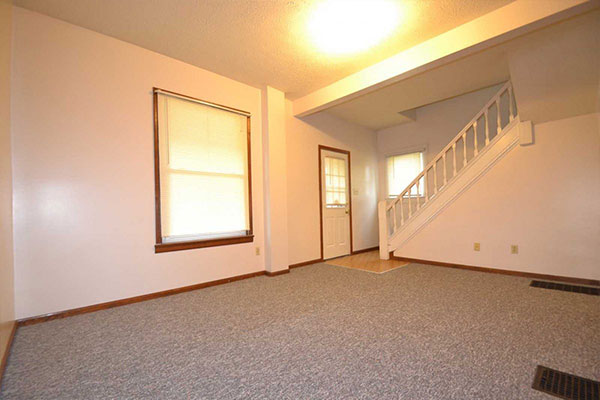 296 Huntington Ave Akron living room and stairs